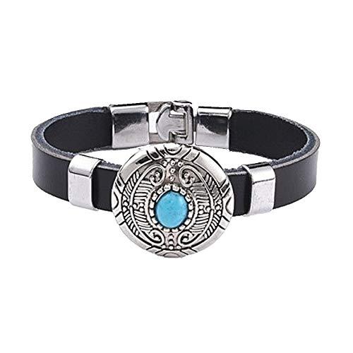 Armband Lederarmband mit türkisem Stein auf rundem Concho Biker Western Country Indian