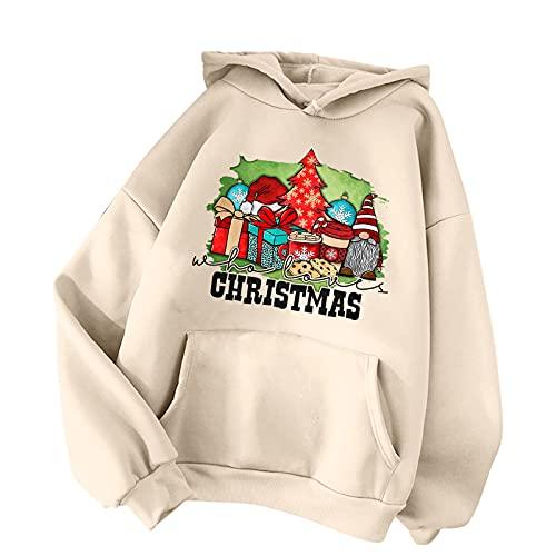 BIKETAFUWY Sudadera de Navidad para mujer, sudadera básica, sudadera con capucha para mujer, con estampado navideño, A36, L