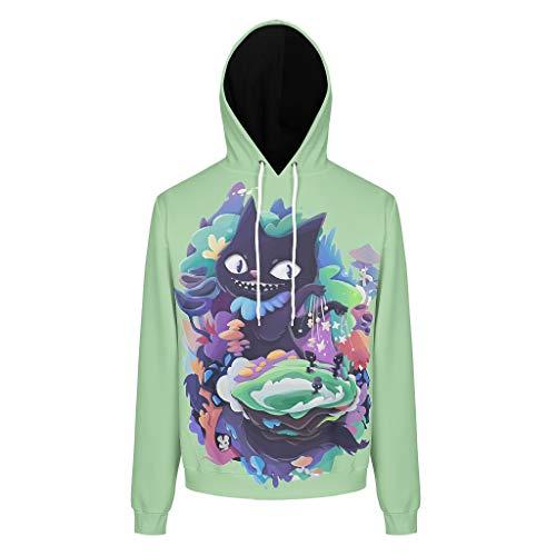 XHJQ88 Unisex-Sweatshirts, Grinsekatze, Retro, grün-rotes Fleece, atmungsaktiv, Weiß, 5 x L