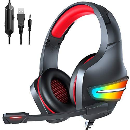 RGB Gaming Headset estéreo con sonido envolvente, PS4 auriculares con micrófono con cancelación de ruido, luz RGB de respiración y ajustable de micrófono, para PS4 PC Xbox One Laptop Mac,Black red