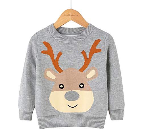 Girls' Boys' Novelty Knitted Christmas Reindeer Snowflake Jumper - Grey - 3-4 Years