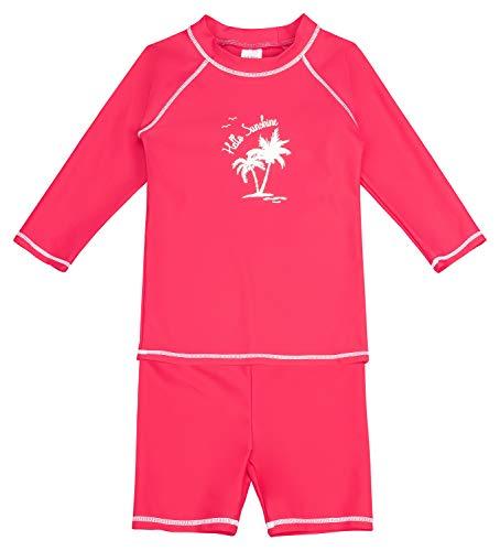 Landora®: Baby- / Kinder-Badebekleidung langärmliges 2er Set mit UV-Schutz 50+ und Oeko-Tex 100 Zertifizierung rot/pink in 86/92