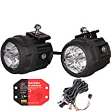 HOUSE TUNING LED Spot Light Kit - 2 Pack, 3 inch Round LED Accessory Lights with Wiring Harness ,LED Fog Light for Utv ATV Motorcycle Trucks Off Road (80W Spot - 3' Round)