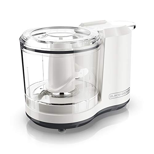 BLACK+DECKER Electric Food Chopper, 1.5 Cup Capacity One-Touch Vegetable Chopper, White, HC150WC