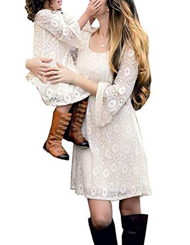 Loalirando Madre e Figlia Abiti Famiglia Manica Lunga in Pizzo Bianco Vestito Bambina/Vestiti Donna Elegante Autuuno Inverno