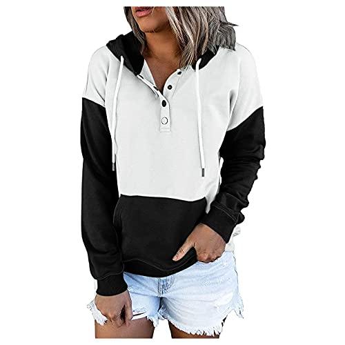 Blusen & Túnicas para mujer, jersey con capucha, tops, informal, con botones, cuello en V, colores a juego, camisetas de manga larga con bolsillos., Negro , L