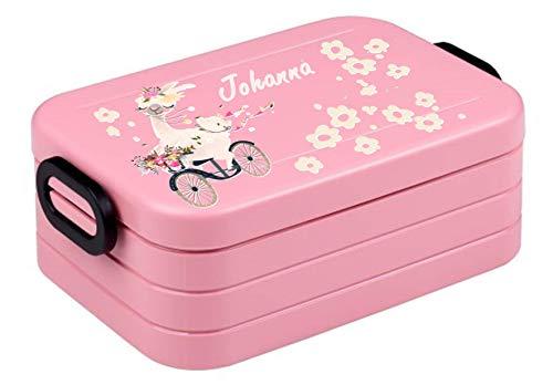 wolga-kreativ Brotdose Mädchen Lama Fahhrad mit Namen rosa Mepal Trennwand Lunchbox mit Fächer Brotzeitbox Vesperdose Mädchen Junge Kinder personalisiert