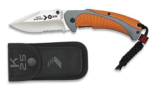 K25-19785 Navaja K25 Energy. Naranja. Hoja:8cm Herramienta para Caza, Pesca, Camping, Outdoor, Supervivencia y Bushcraft + Portabotellas de regalo