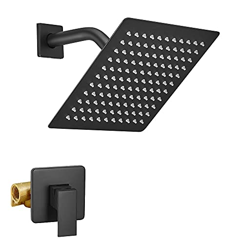 BESy Shower System with 8 Inch Rain Shower Head Wall Mounted Shower Trim Kit, Single Function High Pressure Rainfall Shower Faucet Fixture Combo Set for Bathroom, Matte Black
