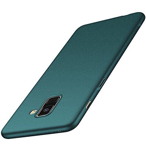 anccer Cover per Samsung Galaxy A8 [Serie Colorato] di Gomma Rigida Protezione da Cadute e Urti Compatibile con Samsung A8 2018 (Ghiaia Verde)