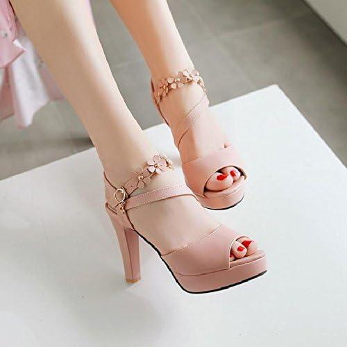 YMFIE été Fleurs Douces Sandales à Talons Hauts Poisson Bouche Chaussures Dames Chaussures à Talons Hauts.