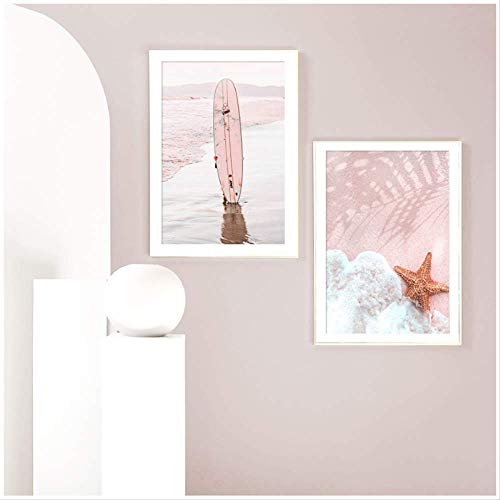 Canvas painting Pink Beach Surfboard Parasol Coconut Tree Wall Art Canvas Painting Nordic Posters And Prints Wall Pictures For Living Room Decor 50x70 cmx2 no frame