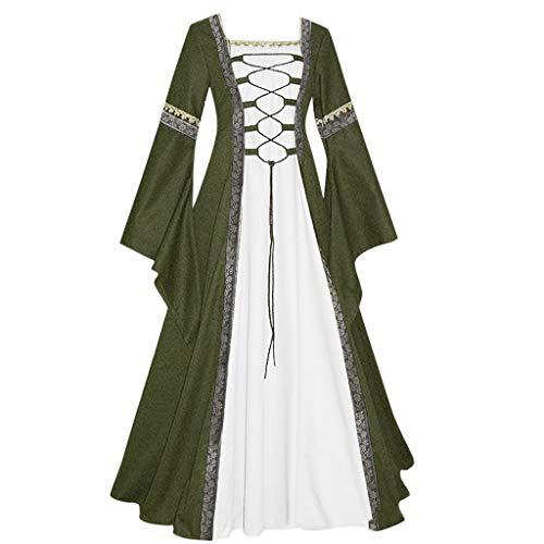 HuaCat Damen Mittelalter Kleid Vintage Renaissance Stitching Style Solid Color Flare Ärmel Lange Trompetenärmel Party Kostüm Maxikleid
