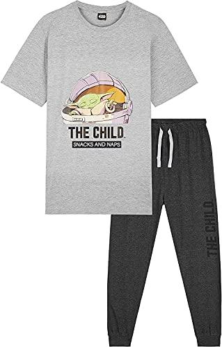 Star Wars Pijama Hombre, Baby Yoda Pijamas Hombre, Camiseta Manga Corta Diseño Mandalorian y Pantalones Largos, Regalos para Hombre y Adolescentes Talla S - 3XL (Gris, L)