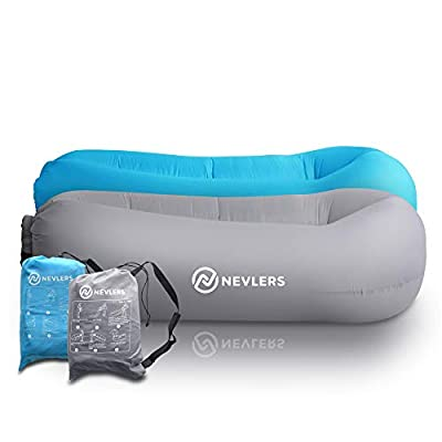 Nevlers 2 Pack Inflatable Lounger with Side Pockets and Matching Travel Bag - Blue & Gray - Waterproof and Portable - Great and Easy to Take to The Beach, Park, Pool, and as Camping Accessories