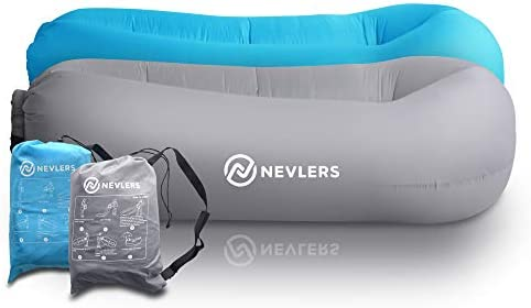 Nevlers 2 Pack Inflatable Lounger with Side Pockets and Matching Travel Bag Blue Gray Waterproof product image