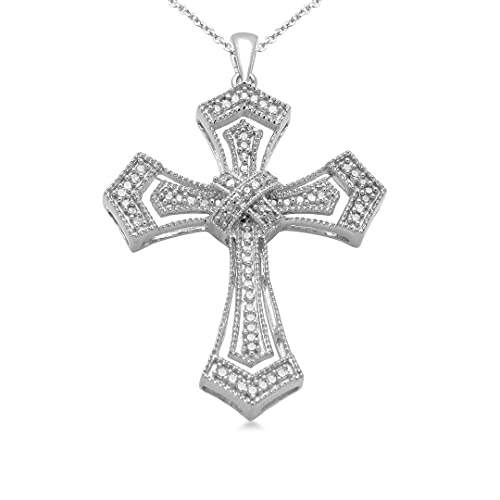 Jewelili Sterling Silver 1/5 Cttw Natural White Round Diamond Cross Pendant Necklace, 18' Rolo Chain