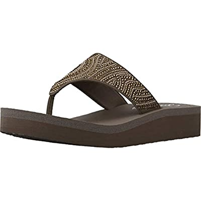Skechers Women's Flip Flop Sandals, Brown Taupe Mitobuck Rhinestone Trim TPE, 39