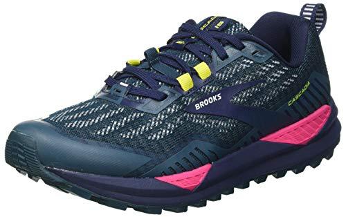 Brooks Damen Cascadia 15 Laufschuh, Navy Pink Yellow, 40.5 EU