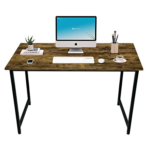 "AIJOINER Writing Computer Desk 39"" Home Office Writing Study Desk, Modern Simple Style Laptop Table, Black Metal Frame, Charcoal Wood"