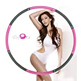 NEOWEEK Hoola Hoop for Adults,Weighted Hoola Hoop for Exercise-2lb,8 Section Detachable Design-Professional Soft Fitness Hoola Hoop(Pink-Gray)