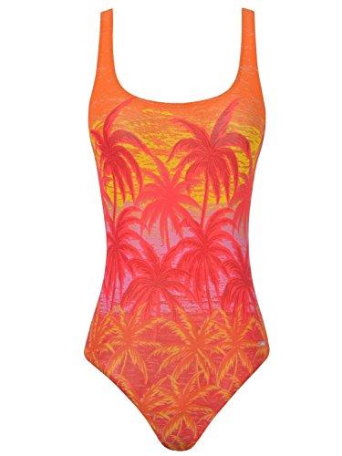 Solar Tan Thru sportlicher Badeanzug Palmen in Rot, Gr. 44 B-Cup