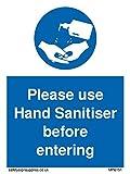 Si prega di utilizzare il disinfettante per le mani prima di entrare.