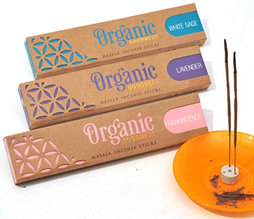 Organic Goodness Incense Sticks - 3 Pack: Lavender, Frankincense and White Sage. Total 45 Grams (Over 96% Organic Materials Used) with Ceramic Burner (Saucer not Included)