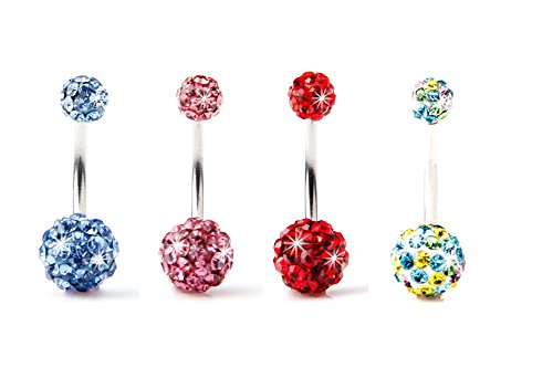 BODYA® Pack of 4 Jewellery Belly Ring Double Ball Full Swarovski Crystals...