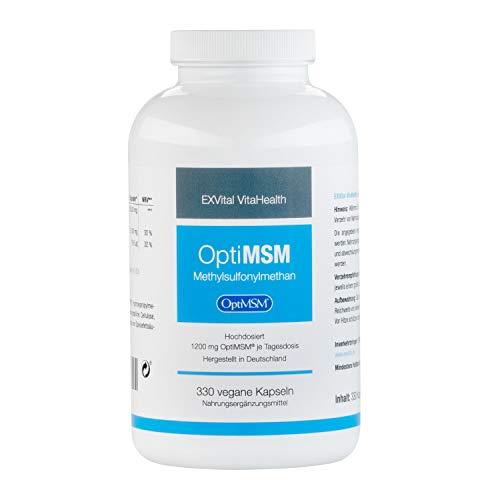EXVital VitaHealth OptiMSM: 330 Kapseln OptiMSM (Methylsulphonylmethan) in Premiumqualität,Schwefelpulver-MSM Pulver, 5-6 Monatsdose, Hergestellt in Deutschland, 1er Pack (1x290g)