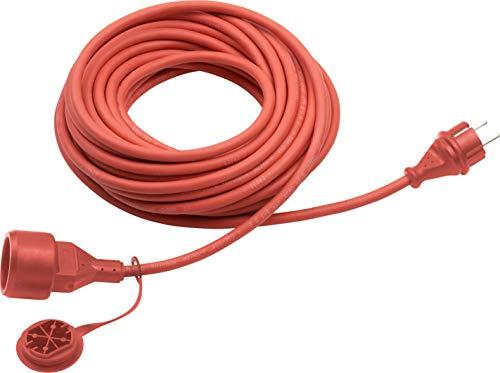 Meister Schutzkontakt-Verlängerung - 10 m Kabel - rot - Gummischlauchleitung - IP44 Außenbereich / Kupplung mit Berührungsschutz / Schuko-Verlängerung / 7435070