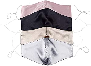 Santen 4 stuks zijde, satijn, gezichtsdekking met neusdraad, 2-lagen, verstelbare oorlus, mooi, gestructureerd