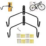 SUNSPOT自転車壁掛けフック 自転車ハンガー バイクハンガー バイクスタンド 自転車ディスプレイ 壁 ディスプレイ ラック 自転車ホルダー 角度 調整 収納可能(2個セット)