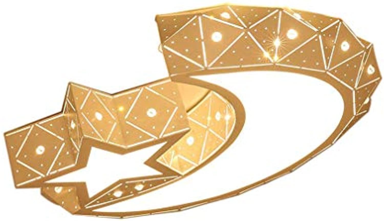LED Dimmbar Deckenleuchte, Schn Kinderzimmer Dekoration Beleuchtung, Modern Mond Sternen Kreative Design, Romantisch Wohnzimmer Schlafzimmer Decken-Licht, Metall Acryl Deckenlampe, 36W 50cm Wei