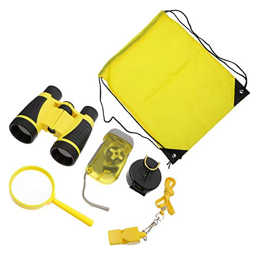 BESPORTBLE 6 Stück Kinder Explorer Kit Power Taschenlampe Kompass Pfeife Lupe Fernglas Kordelzug Taschen Explorer Ausrüstung für Jungen Mädchen