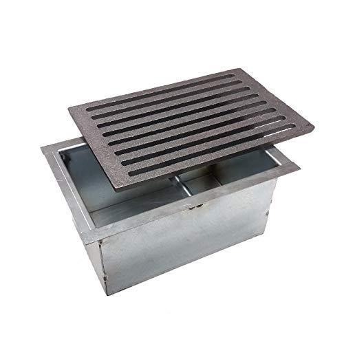 Griglia in ghisa cm 20,6x30x1 con cassetto raccogli cenere per camino