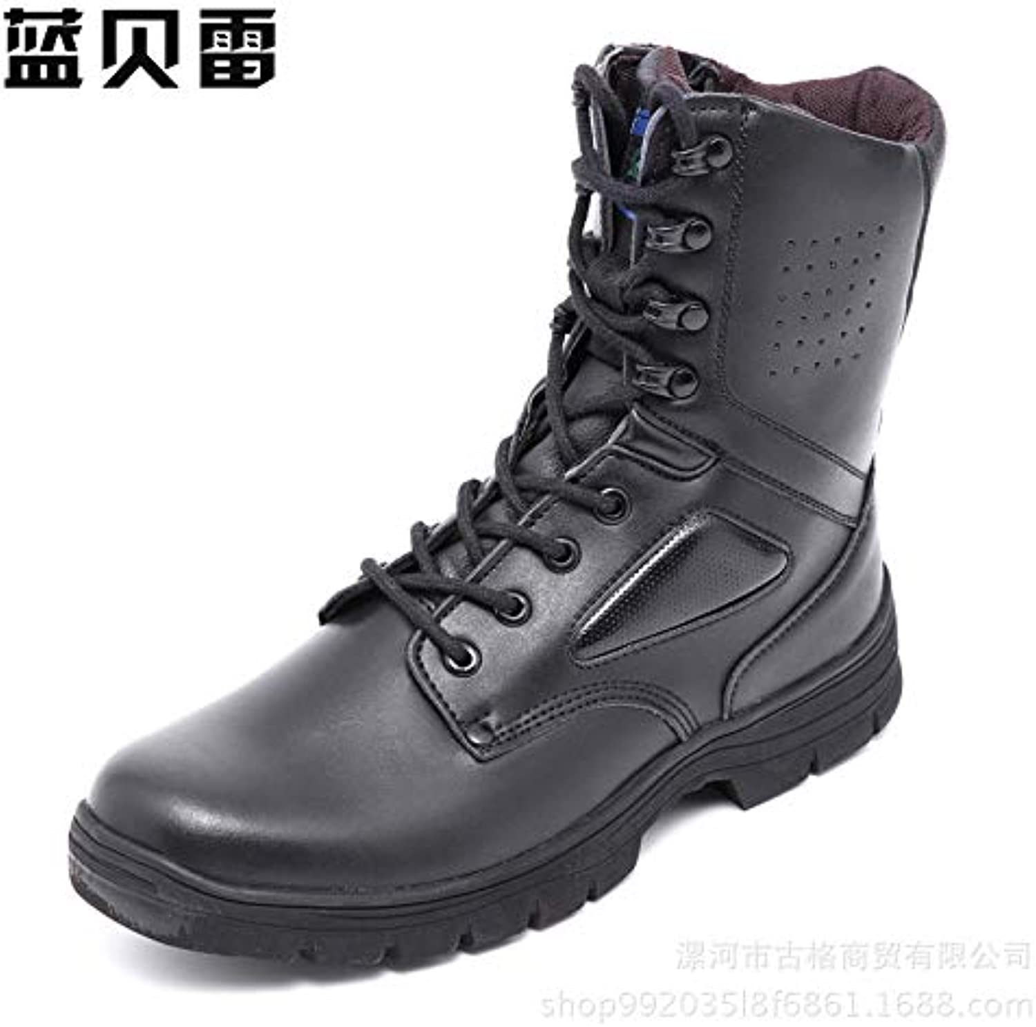 LOVDRAM Boots Men's Leather Men'S Boots Military Boots Wear Non Slip Rubber Sole Outdoor Thickening Tube Martin Boots Men