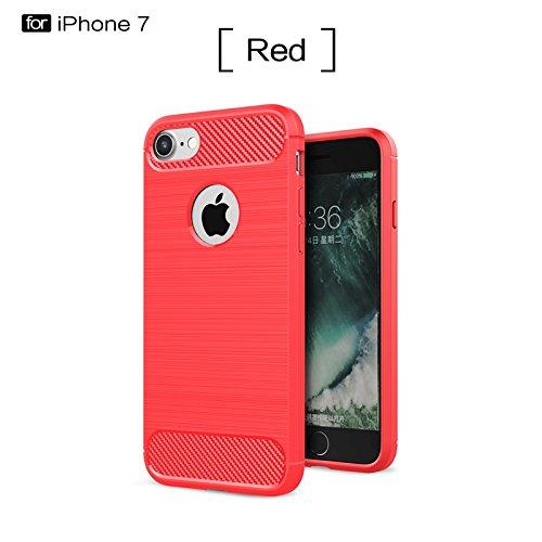 YHUISEN Caso IPhone 7 Plus, Ultra Light Carbon Fiber Armatura ShockProof spazzolato Custodia in silicone Grip per IPhone 7 Plus ( Color : Red )