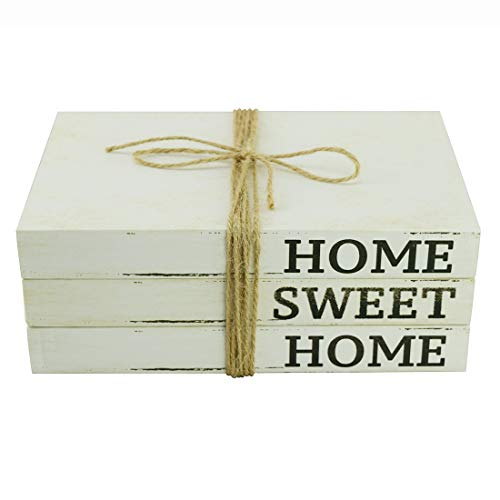 FOONEA Decorative White Books, Home Sweet Home Stacked Books - Rustic Farmhouse Accent Decor for a Living Room Coffee Table, Entryway Shelf, End Table, Mantel and Bedroom Night Stand, Set of 3