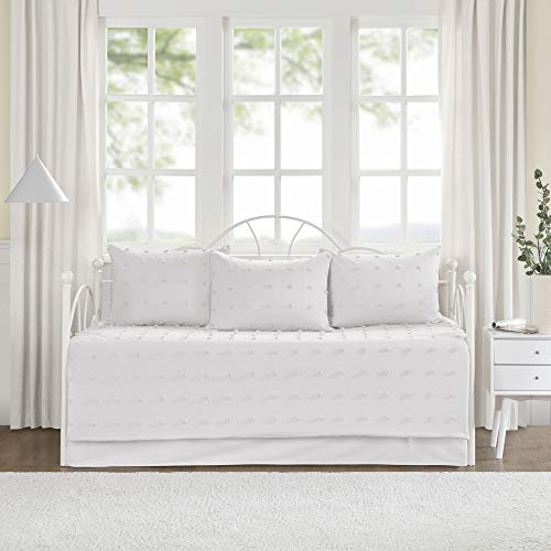Urban Habitat Brooklyn Cotton Daybed Cover-Jacquard Tufted Chenille with Quilted Reverse All Season Bedding with Bedskirt, Matching Shams, Decorative...