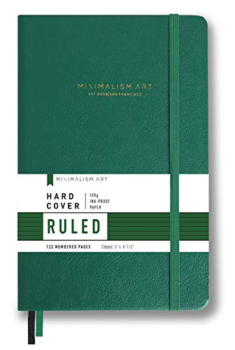 "Minimalism Art, Premium Hard Cover Notebook Journal, Small Size, Classic 5"" x 8.3"", 122 Numbered Pages, Gusseted Pocket, Ribbon Bookmark, Extra Thick Ink-Proof Paper 120gsm (Wide Ruled, Green)"
