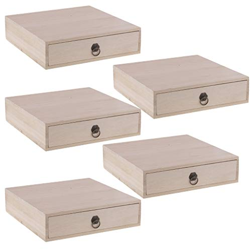 Hellery Lote De 5 Cajas De Almacenamiento De Organizador De Escritorio De Madera Sin Terminar con Cajones, Diseño Simple, Organizador De Bolsitas De Té con AC