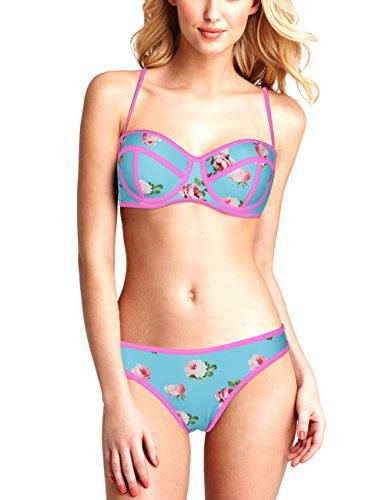 EONAR Damen Bikinioberteil mit BÜGELN Bikini Set Einstelbar Push-Up Bademode (S,A-Floral)