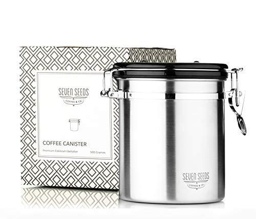 Edler Kaffeebehälter von Seven Seeds aus Premium Edelstahl | Vorratsdose mit 500 g Kapazität | zur Aufbewahrung von Kaffeebohnen und Kaffeepulver