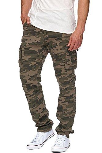 Indicode Herren William Cargohose aus Baumwolle m. 7 Taschen inkl. Gürtel | Lange Regular Fit Cargo Hose Baumwollhose Freizeithose Wanderhose Trekkinghose Outdoorhose für Männer Dired Camouflage M