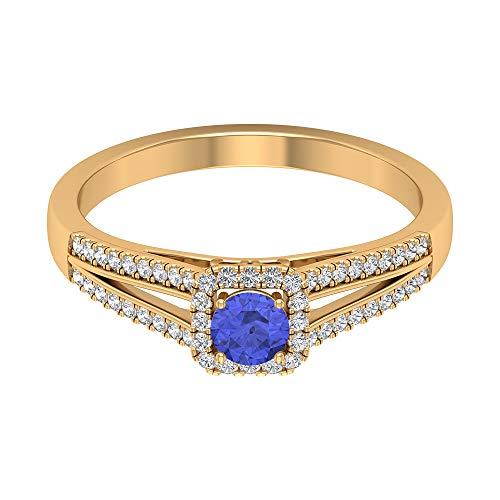 Anillo solitario de tanzanita de 1/4 quilates, anillo de halo de diamante HI-SI, anillo de vástago dividido de oro (tanzanita de 4 mm de forma redonda), 14K Oro amarillo, Size:EU 49