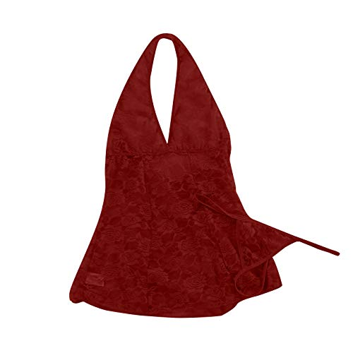 Día De San Valentín Camisón Encaje Mujer Babydoll Transparente con Cuello Colgante Sexy para Mujer Nueva Lencería Moda Tentación Diversión Cómoda Pijama Ropa De Dormir Ropa Interior