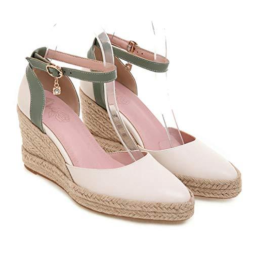 Sommer Frauen Keile High Heels Knöchelriemen Spitz Pumps Mischfarbe Elegante Party Büro Damen Schuhe Flacher Mund Muffin Schuhe