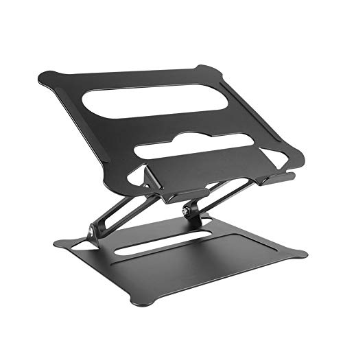 UUMFP Laptop Stand, Aluminum Universal Table Ventilated Cooling Stand, Ergonomic Adjustable Verticle Computer Holder, Foldable Portable Notebook Riser (Black)