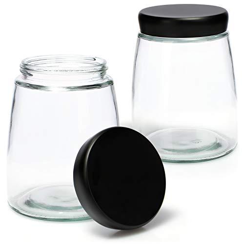 COM-FOUR® 2x Vorratsglas mit Deckel - Aufbewahrungsglas für Kaffee, Tee, Müsli und Gebäck - Vorratsdose aus Glas mit 1000 ml